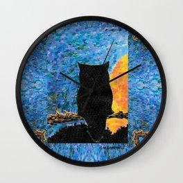 Owl At Peace Wall Clock