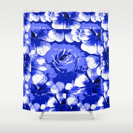 Roses Blue and White Toile #2 Shower Curtain