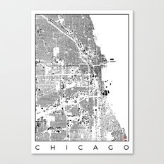 Chicago Map Schwarzplan Only Buildings Canvas Print