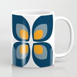 Minimal Art Mid Century Modern Leaf Flower Pattern Blue and Orange Coffee Mug