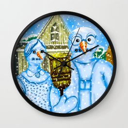 American Gothic Snowpeople Wall Clock