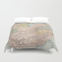 south africa Duvet Covers featuring Vintage Map of South Africa (1892) by BravuraMedia
