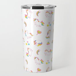 Cute magical rainbow girly pink trendy Unicorn pattern Travel Mug