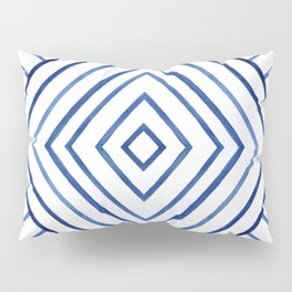 Watercolor lines pattern | Navy blue Pillow Sham