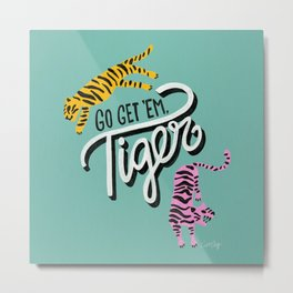 Go Get 'Em Tiger – Mint Palette Metal Print