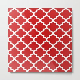 Arabesque Architecture Pattern In Red Metal Print