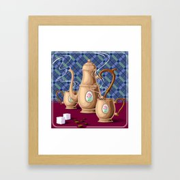 Coffee pot and two cups Framed Art Print
