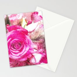 Bunch of Pink roses (watercolour) Stationery Cards