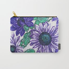 Large Purple Flowers Carry-All Pouch