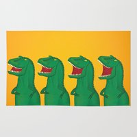 t rex Area & Throw Rugs featuring T-Rex by Yana Elkassova