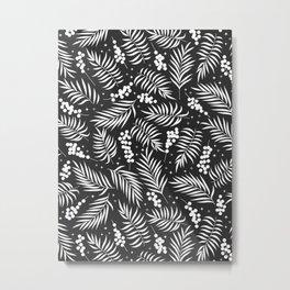 Minimal Mistletoe Bw Metal Print