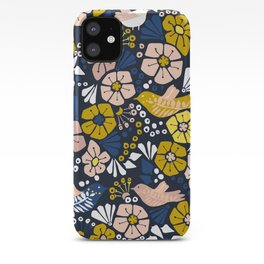 Blue wellness garden - florals matching to design for a happy life iPhone Case