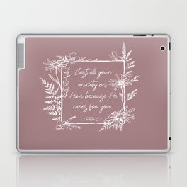 Cast Your Anxiety Wildflower Frame Bible Verse Laptop & iPad Skin