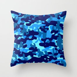Camouflage (Blue) Throw Pillow