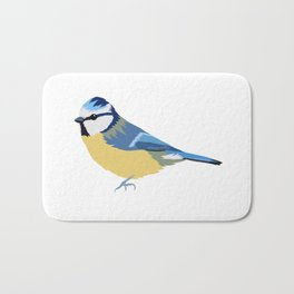 Cute Blue Tit Illustration Bath Mat