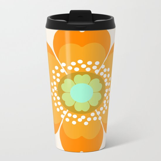 Jivin' - 70's retro throwback art floral flower motif decor hipster Metal Travel Mug
