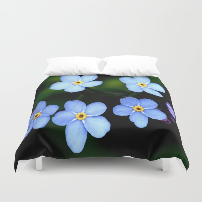 Forget-me-not Tiny Blue Flowers #decor #society6 Duvet Cover