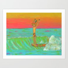 Hang 10 Retro Surf Dude Longboard Surf Art Print