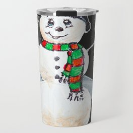 Snowman on Black Travel Mug