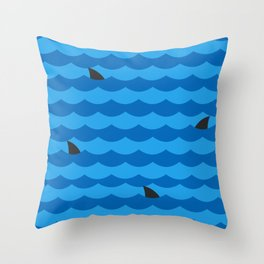 Ocean of Sharks Throw Pillow