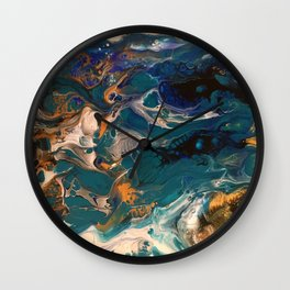 Teal & Gold Pour Wall Clock