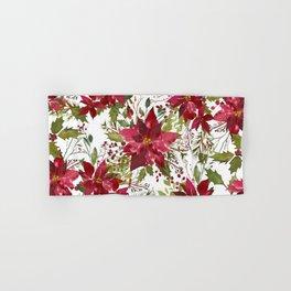 Poinsettia Flowers Hand & Bath Towel