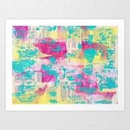 Abstract Mixed Media - Neon Art Print