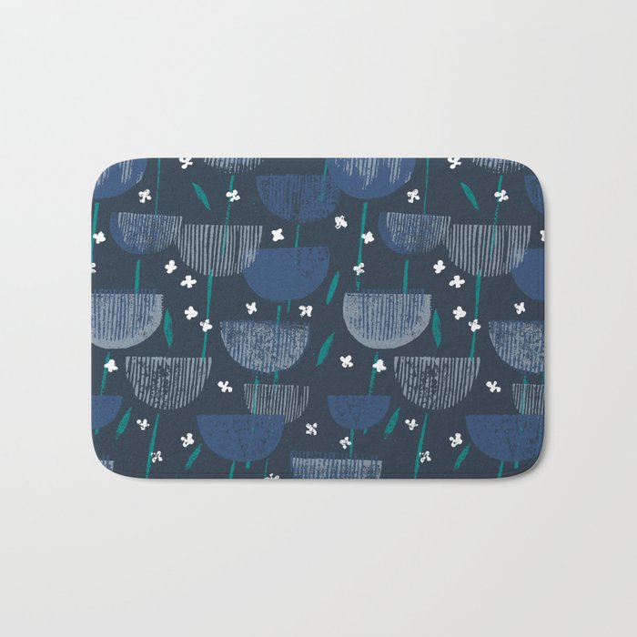 Botanical Block Print M+M Navy by Friztin Bath Mat
