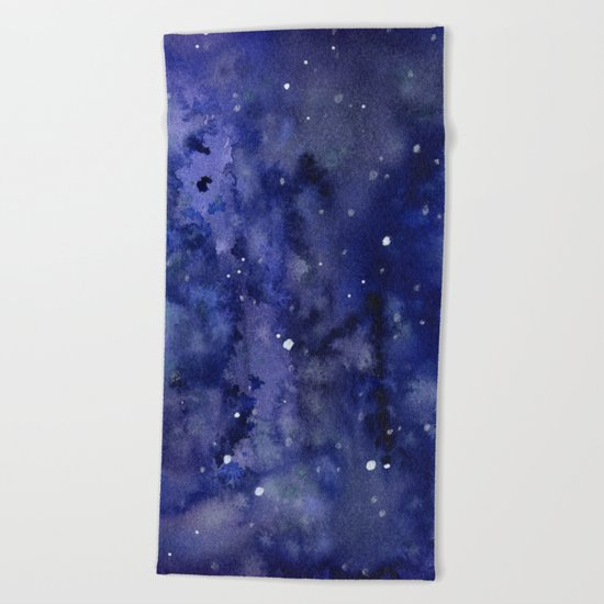 Night Sky Galaxy Stars | Watercolor Space Texture Beach Towel