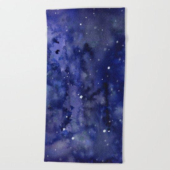 Night Sky Galaxy Nebula Stars Watercolor Space Texture Beach Towel