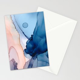 Saphire soft abstract watercolor fluid ink painting Stationery Cards