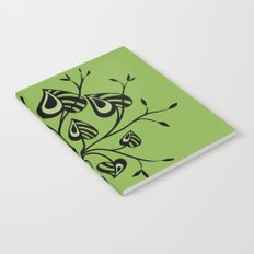 Abstract Floral With Pointy Leaves In Black And Greenery Notebook