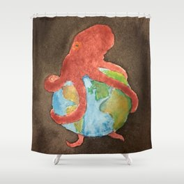 Octopus and Earth Shower Curtain