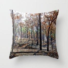 Fire damaged forest Throw Pillow
