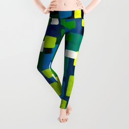 "Original Abstract Acrylic Painting by  ""City Lights"" Colorful Geometric Square Pattern Gre Leggings"