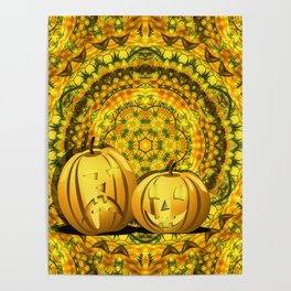 Halloween pumpkins and fall kaleidoscope Poster