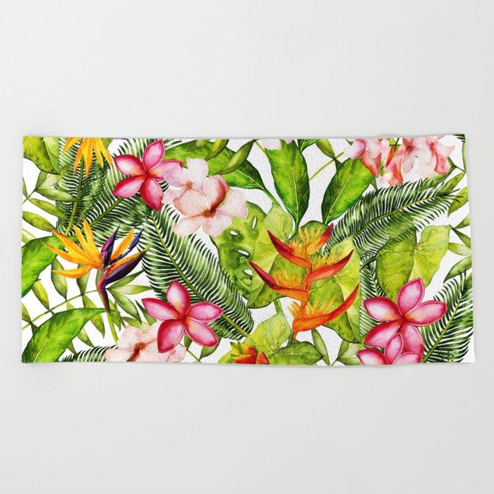 My Aloha Tropical Flower Hibiscus Garden on #Society6 Beach Towel