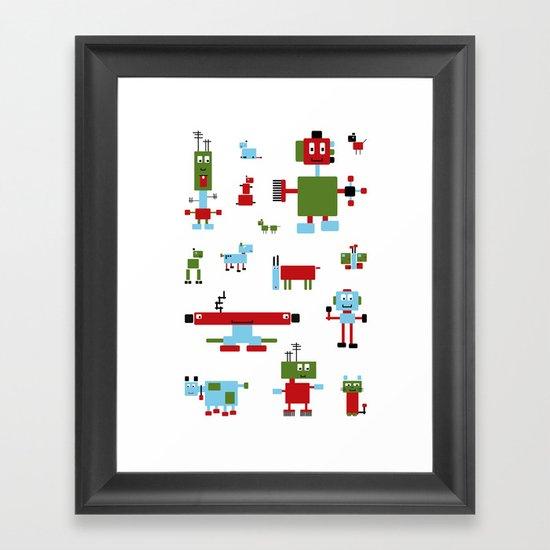 Robots-RGB Framed Art Print