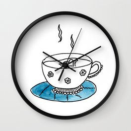 Blue Saucer Wall Clock