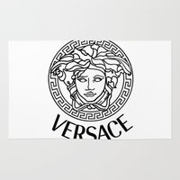 versace Area & Throw Rugs featuring Versace Noir by Goldflakes