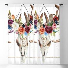 Geometric tribal floral bull skull Blackout Curtain