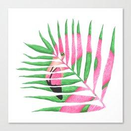 Pink Flamingo Palm Leaf Canvas Print