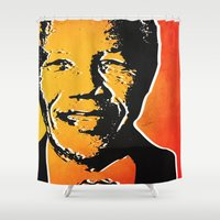 mandela Shower Curtains featuring nelson mandela by mark ashkenazi