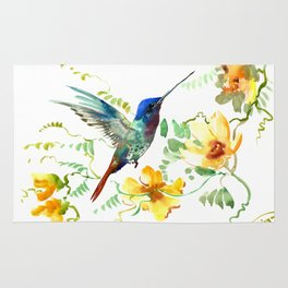 Blue Hummingbird and Yellow Flowers Rug