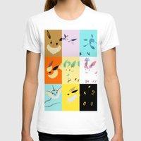eevee T-shirts featuring Eevee evolutions square- Eeeveelutions PKMN by Rebekhaart