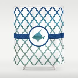 Tropical Fish: Tropical Water Moroccan Pattern Shower Curtain