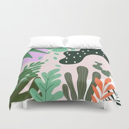 ABSTRACT PASTEL TROPICAL JUNGLE CACTUS PATTERN Duvet Cover