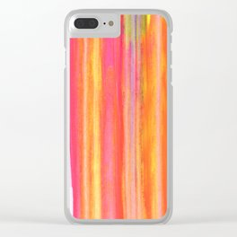 Neon Line Streaks Abstract Clear iPhone Case