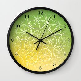 Citrus slices (green/yellow) Wall Clock
