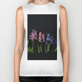 Pink Purple and White Hyacinths Biker Tank